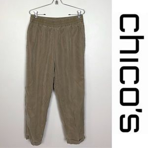 Chico's Pull On Cropped High Waisted Pants Slacks